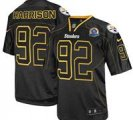 Nike Steelers #92 James Harrison Lights Out Black With Hall of Fame 50th Patch NFL Elite Jersey