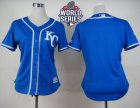 Women Kansas City Royals Blank Blue Alternate 2 W 2015 World Series Patch Stitched MLB Jersey