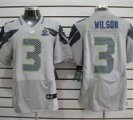 Nike Seahawks #3 Russell Wilson Grey With Hall of Fame 50th Patch NFL Elite Jersey