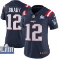 Nike Patriots #12 Tom Brady Navy Women 2019 Super Bowl LIII Color Rush Limited Jersey