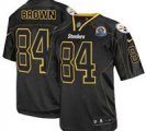 Nike Steelers #84 Antonio Brown Lights Out Black With Hall of Fame 50th Patch NFL Elite Jersey