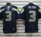 Nike Seahawks #3 Russell Wilson Blue With Hall of Fame 50th Patch NFL Elite Jersey