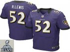 2013 Super Bowl XLVII NEW Baltimore #52 Ravens Ray Lewis Purple Jerseys (Elite)
