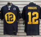 Nike Packers #12 Aaron Rodgers Navy Blue With Hall of Fame 50th Patch NFL Elite Jersey