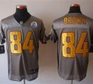 Nike Steelers #84 Antonio Brown Grey Shadow With Hall of Fame 50th Patch NFL Elite Jersey