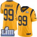 Nike Rams #99 Aaron Donald Gold Youth 2019 Super Bowl LIII Color Rush Limited Jersey