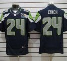 Nike Seahawks #24 Marshawn Lynch Blue With Hall of Fame 50th Patch NFL Elite Jersey