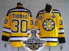 nhl boston bruins #30 thomas yellow[2011 stanley cup champions]