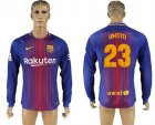 2017-18 Barcelona 23 UMTITI Home Long Sleeve Thailand Soccer Jersey