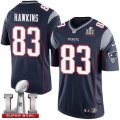 Youth Nike New England Patriots #83 Lavelle Hawkins Elite Navy Blue Team Color Super Bowl LI 51 NFL Jersey