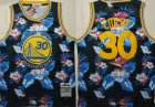 Warriors #30 Stephen Curry Black 2009-10 Hardwood Classics Floral Fashion Swingman