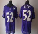 Nike Ravens #52 Ray Lewis Purple With Hall of Fame 50th Patch NFL Elite Jersey