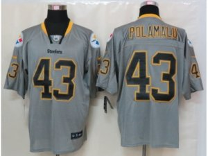 Nike Pittsburgh Steelers #43 Troy Polamalu Grey Jerseys(Lights Out Elite)