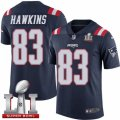 Youth Nike New England Patriots #83 Lavelle Hawkins Limited Navy Blue Rush Super Bowl LI 51 NFL Jersey