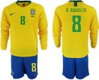 2018-19 Brazil 8 R. AGUSTO Home Long Sleeve Soccer Jersey
