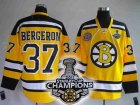 nhl boston bruins #37 bergeron yellow[2011 stanley cup champions