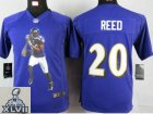 2013 Super Bowl XLVII Youth NEW NFL Baltimore Ravens #20 Reed Purple Portrait Fashion Jerseys