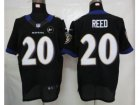 Nike Baltimore Ravens #20 Ed Reed white black jerseys[Elite Art Patch]