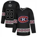 Canadiens #33 Patrick Roy Black Team Logos Fashion Adidas Jersey
