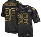 Nike Vikings #28 Adrian Peterson Lights Out Black With Hall of Fame 50th Patch NFL Elite Jersey