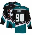 Mens Adidas Anaheim Ducks #90 Giovanni Fiore Authentic Black Teal Third NHL Jersey