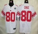 Nike Giants #80 Victor Cruz White With Hall of Fame 50th Patch NFL Elite Jersey