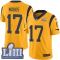 Nike Rams #17 Robert Woods Gold 2019 Super Bowl LIII Color Rush Limited Jersey