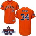 Astros #34 Nolan Ryan Orange Flexbase Authentic Collection 2017 World Series Champions Stitched MLB Jersey