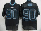 nfl detroit lions #90 ndamukong suh black[lights out]