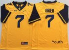 West Virginia Mountaineers #7 Will Grier Gold Youth Nike College Football Jersey