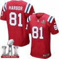 Mens Nike New England Patriots #81 Clay Harbor Elite Red Alternate Super Bowl LI 51 NFL Jersey