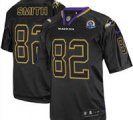 Nike Ravens #82 Torrey Smith Lights Out Black With Hall of Fame 50th Patch NFL Elite Jersey