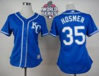 Women Kansas City Royals #35 Eric Hosmer Blue Alternate 2 W 2015 World Series Patch Stitched MLB Jersey