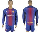2017-18 Barcelona Home Long Sleeve Soccer Jersey