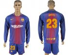 2017-18 Barcelona 23 UMTITI Home Long Sleeve Soccer Jersey