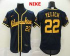 en Milwaukee Brewers #22 Christian Yelich Navy Blue Stitched MLB Flex Base Nike Jersey