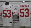 Nike 49ers #53 NaVorro Bowman White With Hall of Fame 50th Patch NFL Elite Jersey
