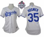 Women Kansas City Royals #35 Eric Hosmer White Home W 2015 World Series Patch Stitched MLB Jersey