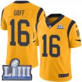 Nike Rams #16 Jared Goff Gold Youth 2019 Super Bowl LIII Color Rush Limited Jersey