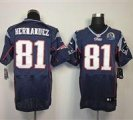 Nike Patriots #81 Aaron Hernandez Navy Blue With Hall of Fame 50th Patch NFL Elite Jersey