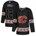 Flames #12 Jarome Iginla Black Team Logos Fashion Adidas Jersey