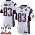Youth Nike New England Patriots #83 Lavelle Hawkins Elite White Super Bowl LI 51 NFL Jersey