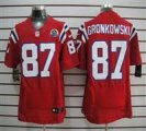 Nike Patriots #87 Rob Gronkowski Red With Hall of Fame 50th Patch NFL Elite Jersey