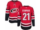 Men Adidas Carolina Hurricanes #21 Lee Stempniak Authentic Red Home NHL Jersey