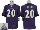 2013 Super Bowl XLVII NEW Baltimore Ravens 20 Ed Reed Purple Jerseys (Elite)