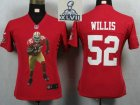2013 Super Bowl XLVII Women NEW San Francisco 49ers 52 Willis Red Portrait Fashion Game Jerseys