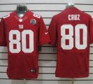 Nike Giants #80 Victor Cruz Red With Hall of Fame 50th Patch NFL Elite Jersey