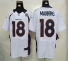 Nike Broncos #18 Peyton Manning White With Hall of Fame 50th Patch NFL Elite Jersey