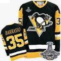 Mens CCM Pittsburgh Penguins #35 Tom Barrasso Premier Black Throwback 2016 Stanley Cup Champions NHL Jersey