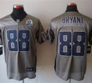 Nike Cowboys #88 Dez Bryant Grey Shadow With Hall of Fame 50th Patch NFL Elite Jersey